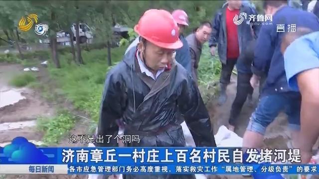 济南章丘一村庄上百名村民自发堵河堤