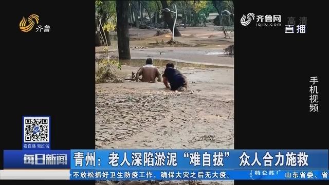 """青州:老人深陷淤泥""""难自拔"""" 众人合力施救"""