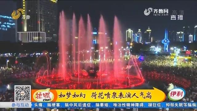 济南:如梦如幻 荷花喷泉表演人气高