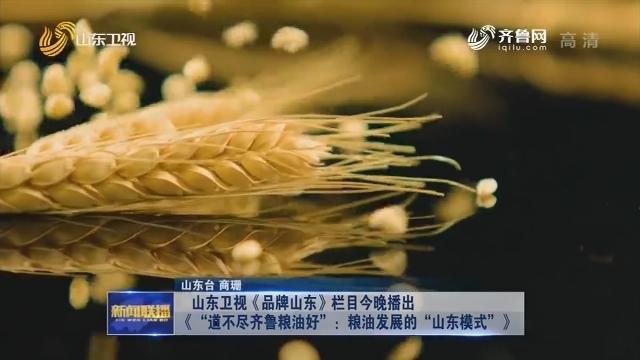 """山东卫视《品牌山东》栏目今晚播出《""""道不尽齐鲁粮油好"""":粮油发展的""""山东模式""""》"""