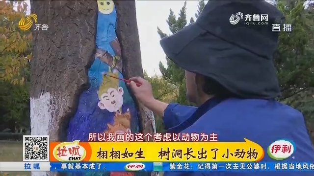 青岛:栩栩如生 树洞长出了小动物