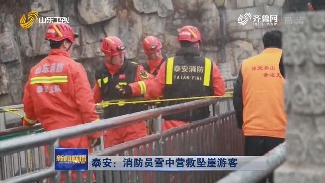 泰安:消防员雪中营救坠崖游客