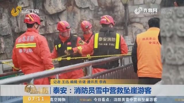 【闪电新闻排行榜】泰安:消防员雪中营救坠崖游客