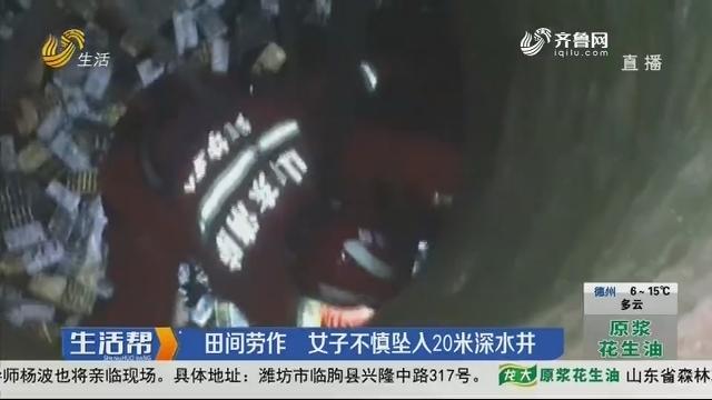 潍坊:田间劳作 女子不慎坠入20米深水井
