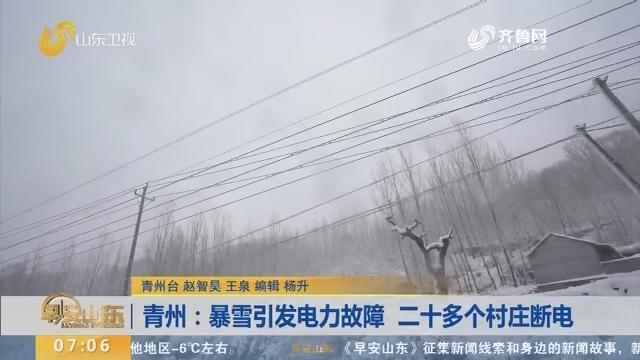 青州:暴雪引发电力故障 抢修人员徒步20公里进山抢通