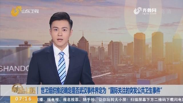 """世卫组织推迟确定是否武汉事件界定为""""国际关注的突发公共卫生事件"""""""