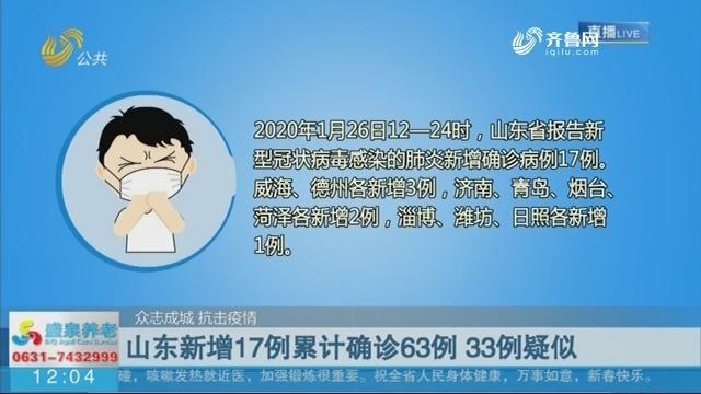 【众志成城 抗击疫情】山东新增17例累计确诊63例 33例疑似