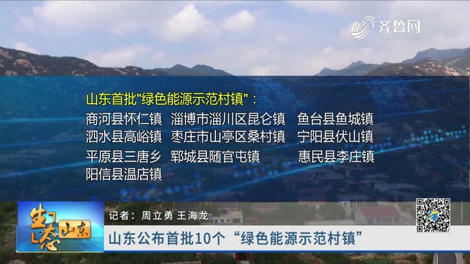 """山东公布首批10个""""绿色能源示范村镇"""""""