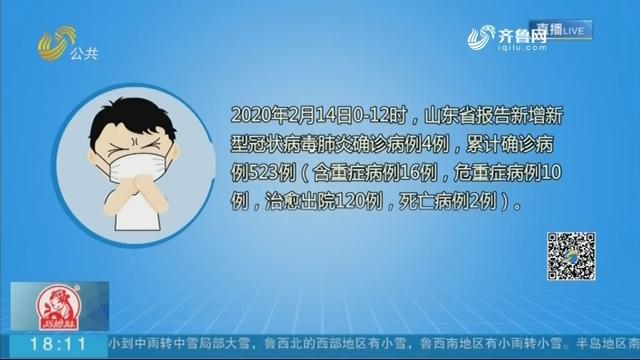 【众志成城 抗击疫情】新增4例 山东新冠肺炎累计确诊病例523例