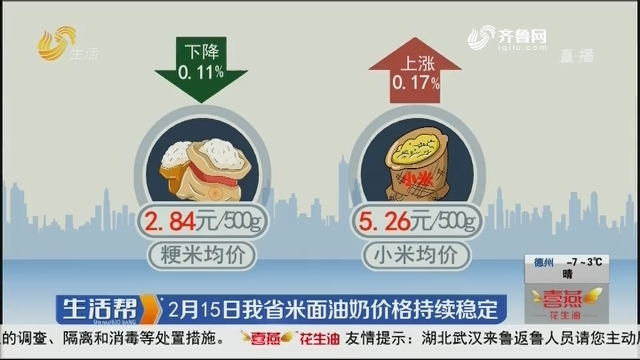 2月15日我省米面油奶价格持续稳定