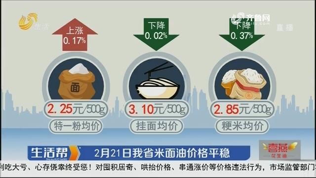 2月21日山东省米面油价格平稳