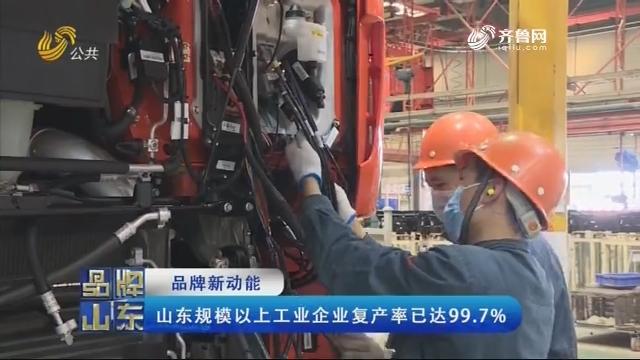 【品牌新动能】山东规模以上工业企业复产率已达99.7%