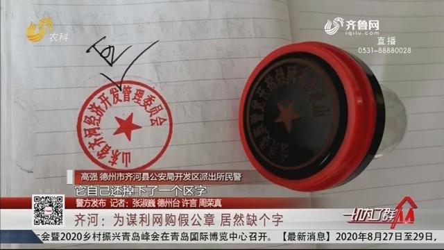 【警方发布】齐河:为谋利网购假公章 居然缺个字