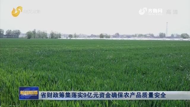 省财政筹集落实9亿元资金确保农产品质量安全