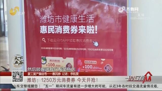 【复工复产集结号——惠民券】潍坊:1250万元消费券 今天开抢!