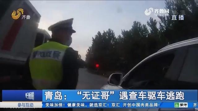 """青岛:""""无证哥""""遇查车驱车逃跑"""