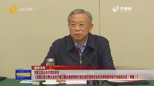刘家义在山东代表团审议《全国人民代表大会关于建立健全香港特别行政区维护国家安全的法律制度和执行机制的决定(草案)》
