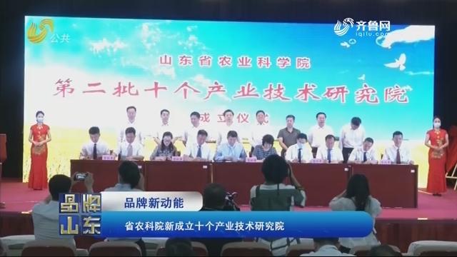【品牌新动能】省农科院新成立十个产业技术研究院