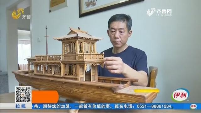 新泰:木雕游船模型 窗户和门能推拉