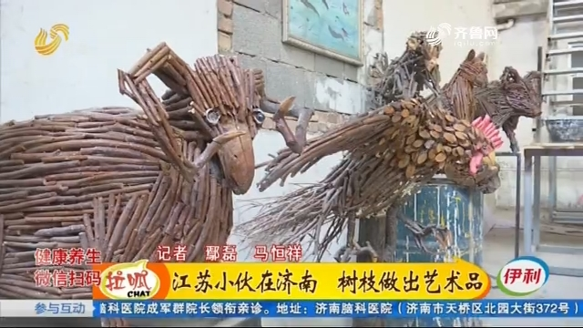 江苏小伙在济南 树枝做出艺术品