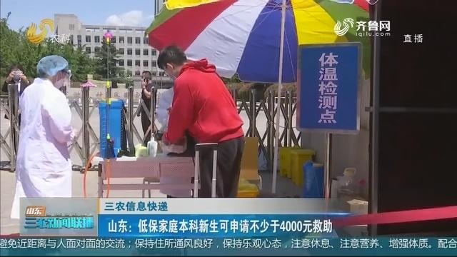 【三农信息快递】山东:低保家庭本科新生可申请不少于4000元救助