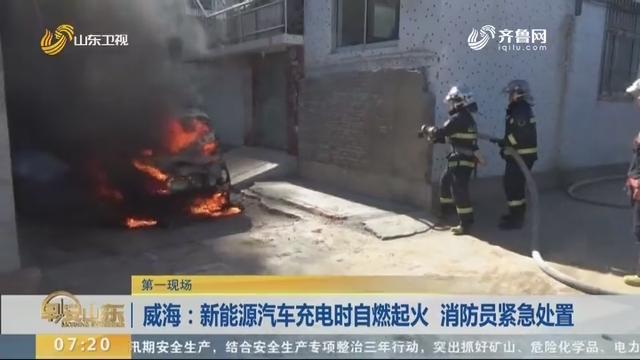 威海:新能源汽车充电时自燃起火 消防员紧急处置