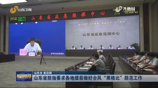 """山东省防指要求各地提前做好台风""""黑格比""""防范工作"""