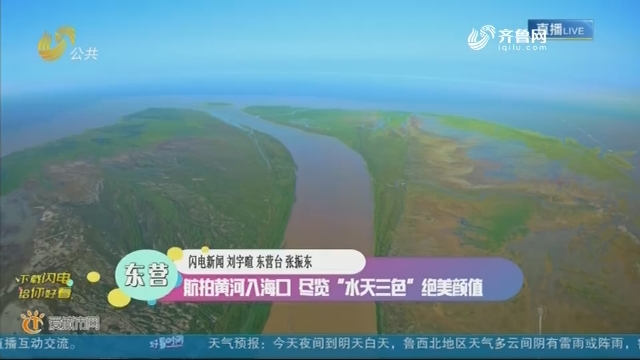 """东营:航拍黄河入海口 尽览""""水天三色""""绝美颜值"""
