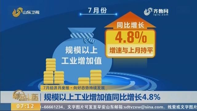 【7月经济月度报·向好态势持续发展】规模以上工业增加值同比增长4.8% 级