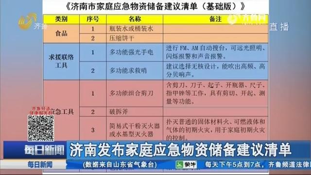 濟南發布家庭應急物資儲備建議清單