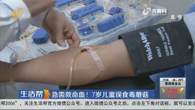 急需救命血!7岁儿童误食毒蘑菇
