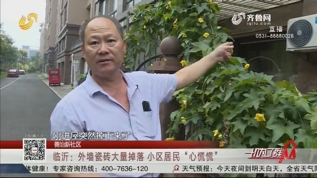 """【善治新社区】临沂:外墙瓷砖大量掉落 小区居民""""心慌慌"""""""