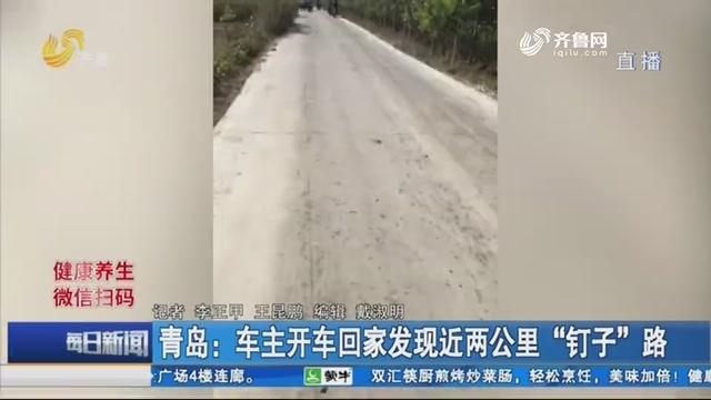 """青岛:车主开车回家发现近两公里""""钉子""""路"""