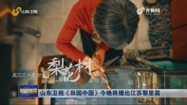 山东卫视《田园中国》今晚将播出江苏黎里篇