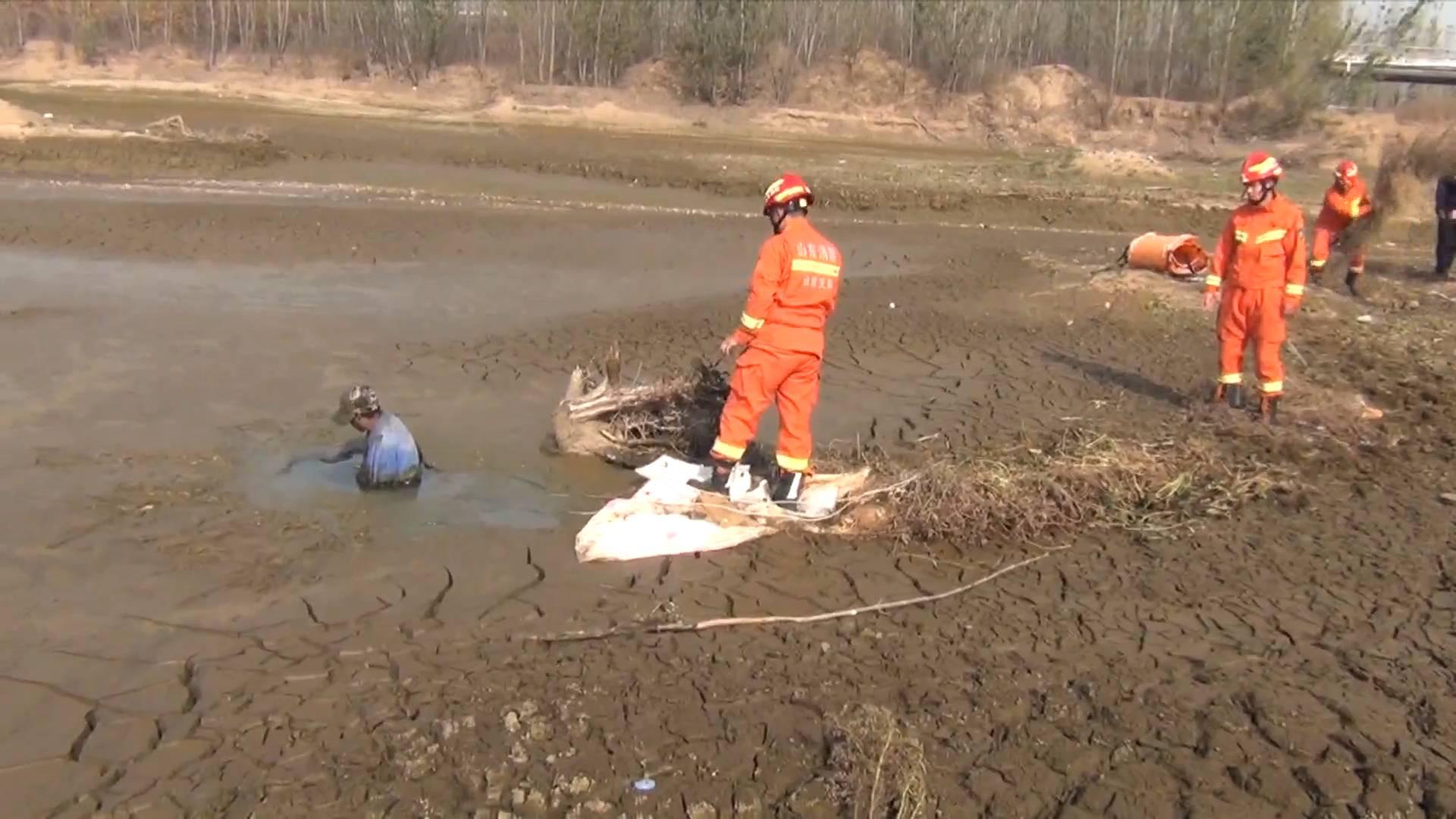 《应急在线》20201115:莒县:男子深陷泥潭难自拔 消防队员紧急救援
