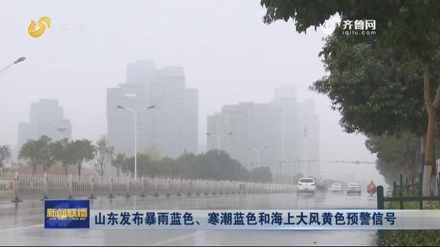 山东发布暴雨蓝色、寒潮蓝色和海上大风黄色预警信号