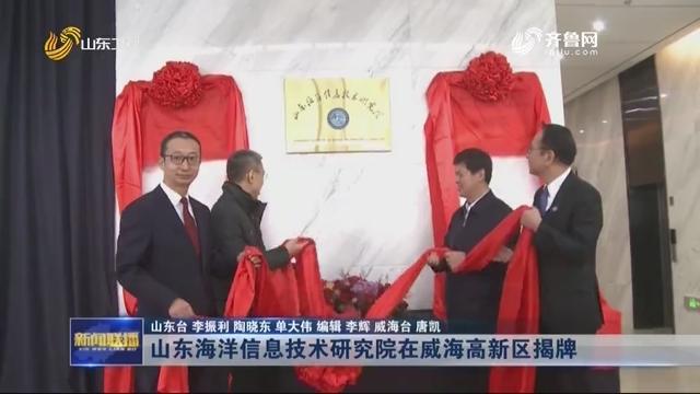 山东海洋信息技术研究院在威海高新区揭牌