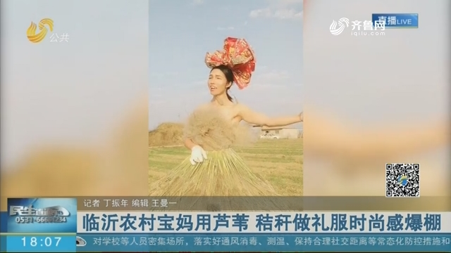 临沂农村宝妈用芦苇 秸秆做礼服时尚感爆棚