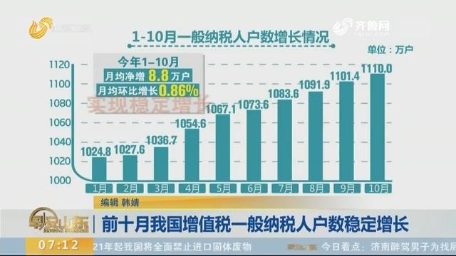 前十月我国增值税一般纳税人户数不变增长
