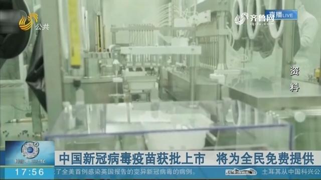 中国新冠病毒疫苗获批上市 将为全民免费提供
