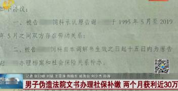 男子伪造法院文书办理社保补缴 两个月获利近30万