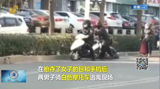 泰安:女子被两名男子当街持铁锤抢劫