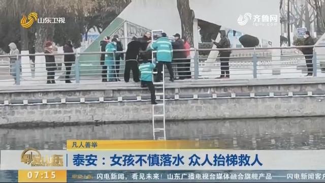 【凡人善举】泰安:女孩不慎落水 众人抬梯救人