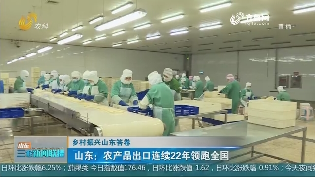 【乡村振兴山东答卷】山东:农产品出口连续22年领跑全国