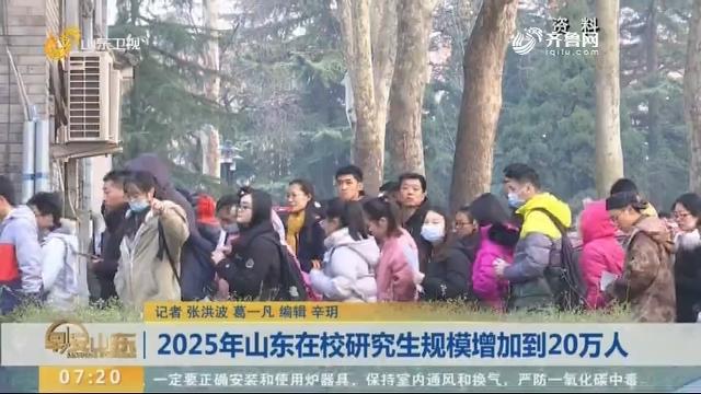 2025年山东在校研究生规模增加到20万人