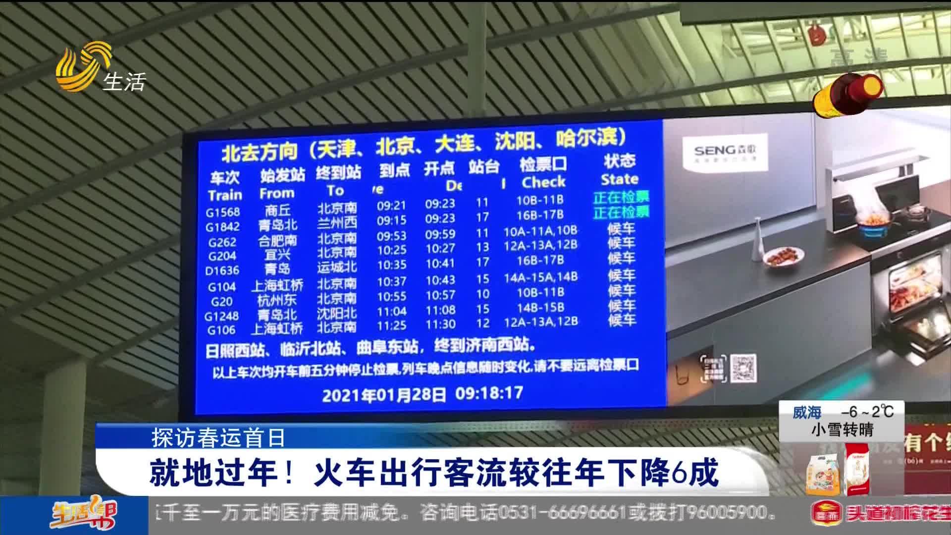 【探访春运首日】就地过年!火车出行客流较往年下降6成
