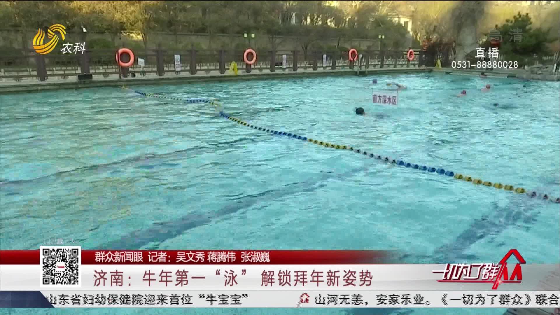 """【群众新闻眼】济南:牛年第一""""泳"""" 解锁拜年新姿势"""