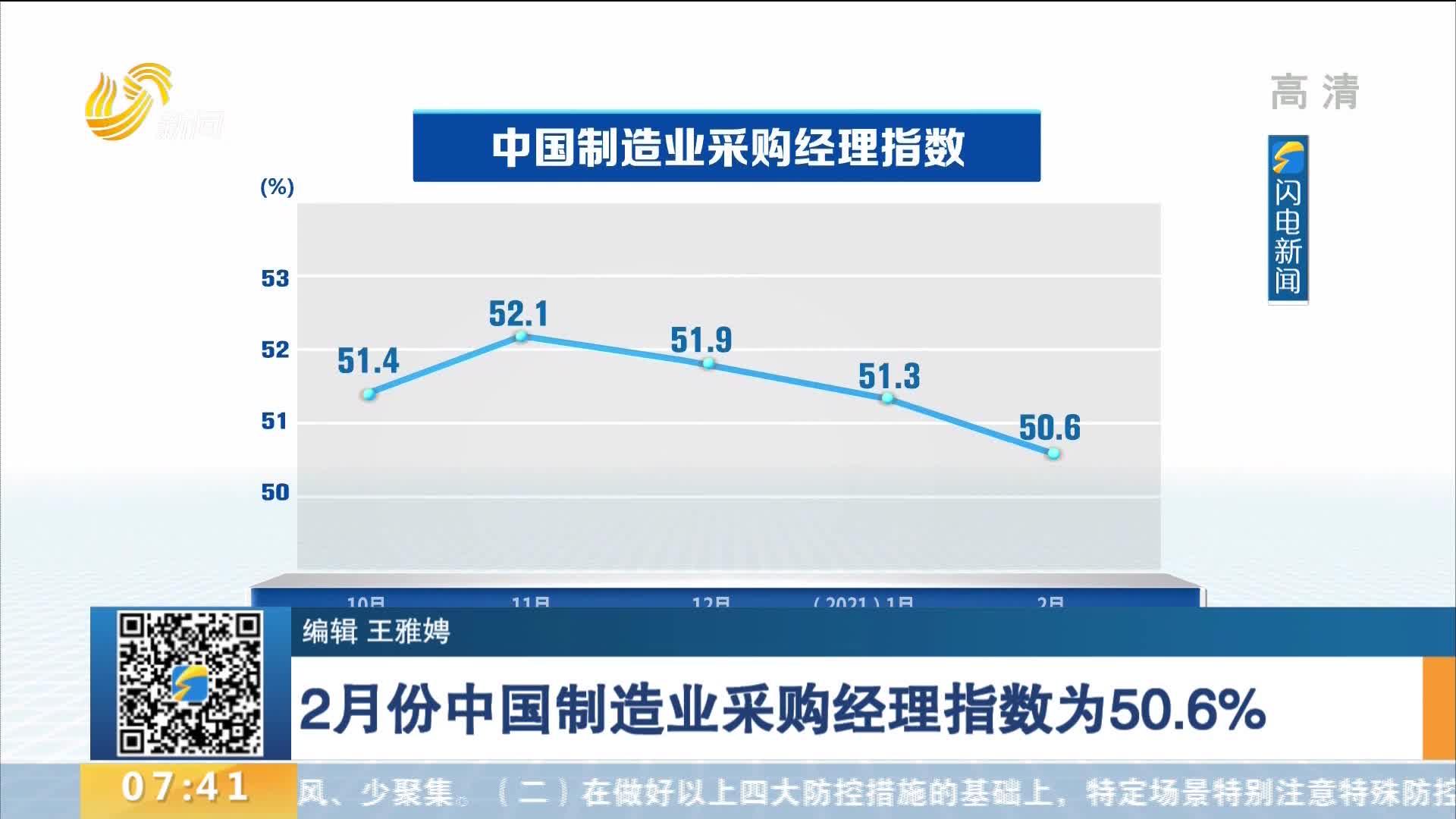 2月份中国制造业采购经理指数为50.6%