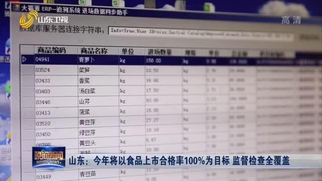 山东:今年将以食品上市合格率100%为目标 监督检查全覆盖