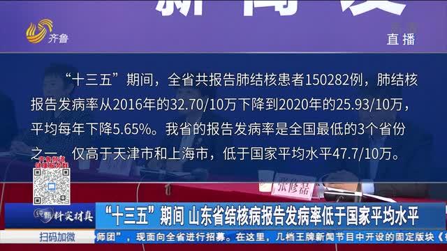 """""""十三五""""期间山东省结核病报告发病率低于国家平均水平"""